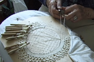 Granny making lace